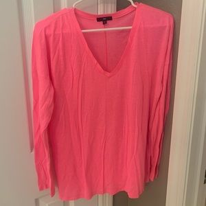 Bright Pink Long Sleeve V-neck Top